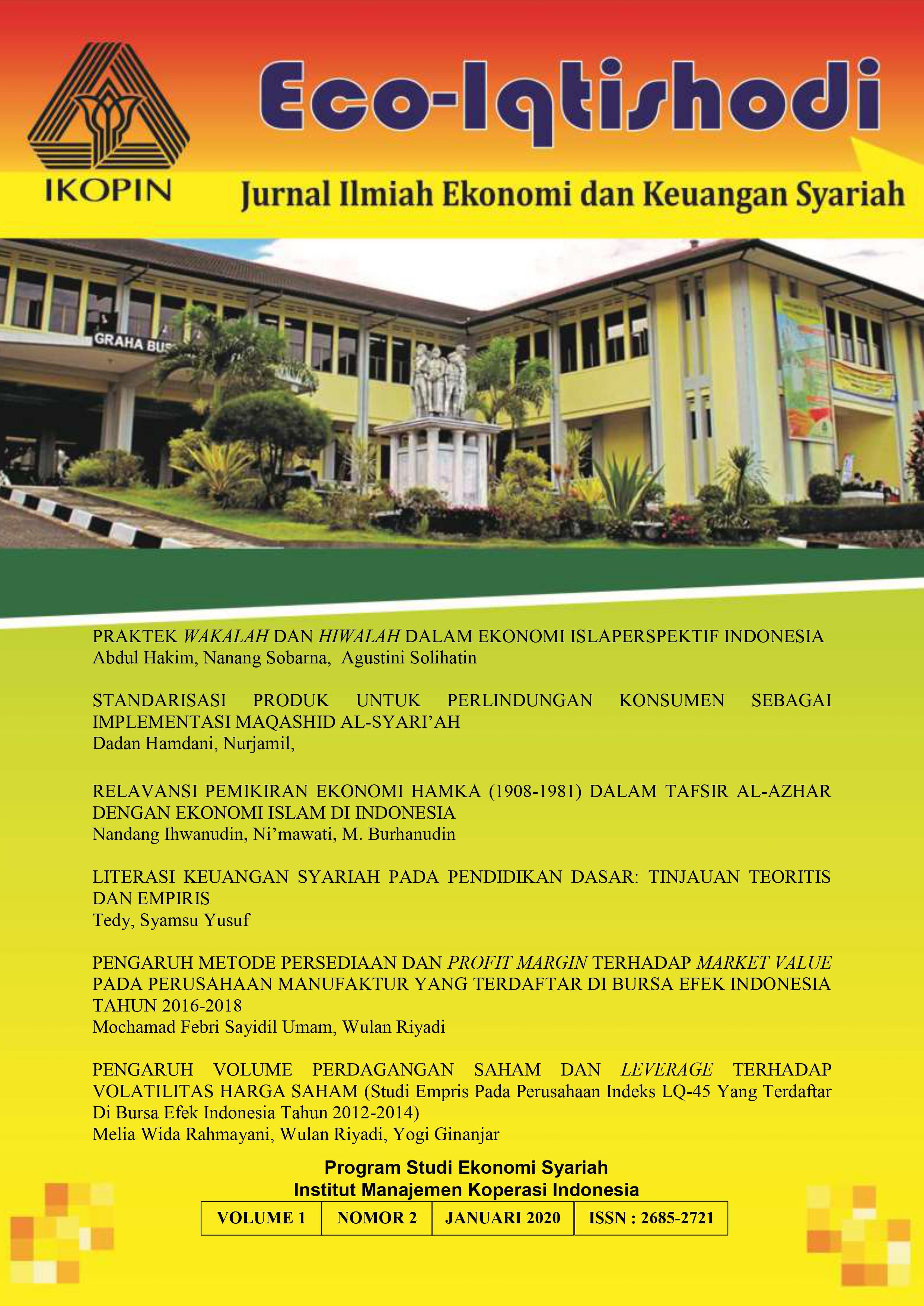Vol 1 No 2 2020 Eco Iqtishodi Jurnal Ilmiah Ekonomi Dan Keuangan Syariah Jurnal Ekonomi Syariah